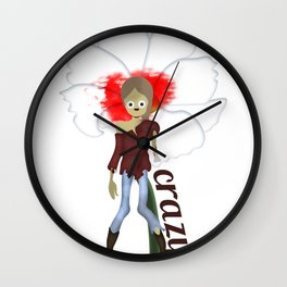 Crazy Zombie Girl Wall Clock
