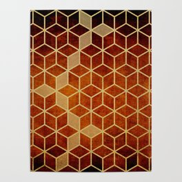Shades Of Orange and Dark Red Cubes Pattern Poster