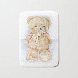 Brown Teddy Bear Watercolor Painting Bath Mat