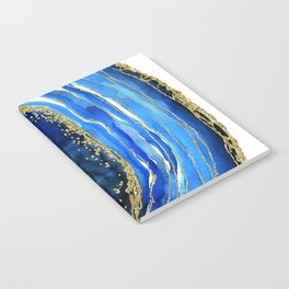 Cobalt blue and gold geode in watercolor Notebook