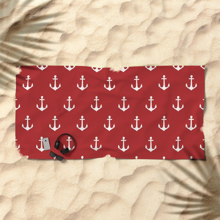 Maritime Nautical Red and White Anchor Pattern - Medium Size Anchors Beach Towel