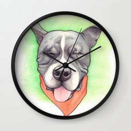 Pitbull - Love is blind - Stevie the wonder dog Wall Clock
