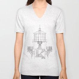 Cape Hatteras Lighthouse Lantern Room Blueprint Unisex V-Neck