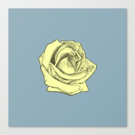 Rose Sketch Yellow Tint on Blue Canvas Print