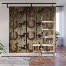 Horses and Horseshoes on Wood  backround Gifts Wall Mural