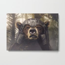 Armored Bear Companion Metal Print
