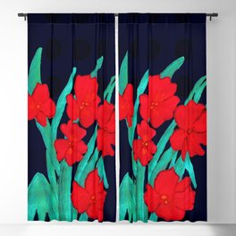 Red flowers gladiolus art nouveau style Blackout Curtain