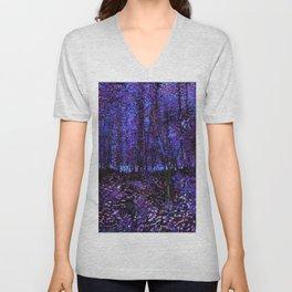 Van Gogh Trees & Underwood Purple Blue Unisex V-Neck