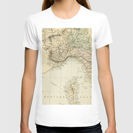 Vintage Retro Map Northern Italy T-shirt
