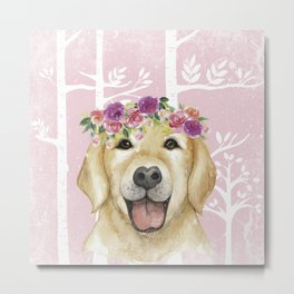 Animals in Forest - The cute retriever Metal Print