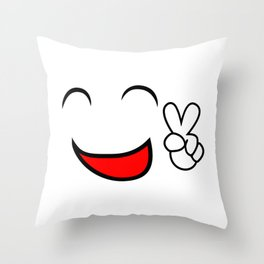 Emoticon smiling face showing peace sign Throw Pillow