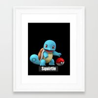 squirtle Framed Art Prints featuring Squirtle 2 by Yamilett Pimentel