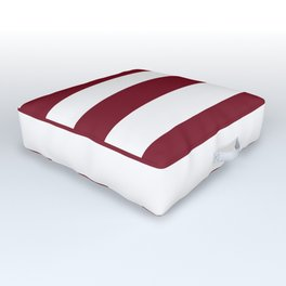 Deep Red Pear and White Wide Horizontal Cabana Tent Stripe Outdoor Floor Cushion
