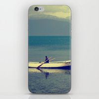 rowing iPhone & iPod Skins featuring rowing a boat in egirdir lake by gzm_guvenc