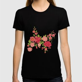 Beautiful red and pink flowers T-shirt