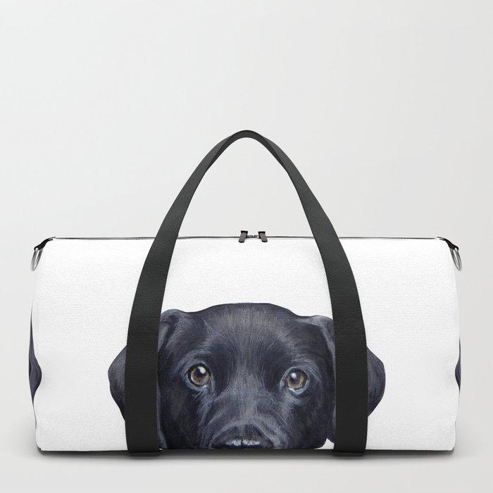 Labrador with white background Dog illustration original painting print Duffle Bag