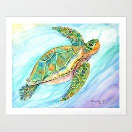 Swimming, Smiling Sea Turtle Art Print