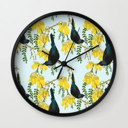 Tuis in the Kowhai Flowers Wall Clock