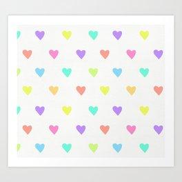 Cute Pastel Rainbow Hearts Pattern Art Print