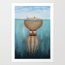 Beauty and the poulpe Art Print