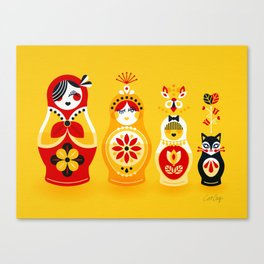 Russian Nesting Dolls – Yellow & Red Canvas Print