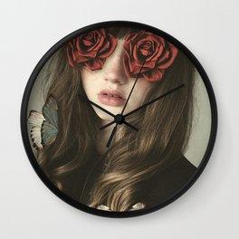 Girl Flower Eyes Wall Clock