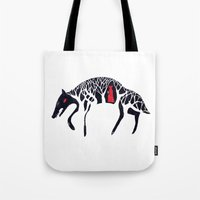 red hood Tote Bags featuring L'il Red Riding Hood by Becca Thorne