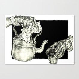 Geometric Black and White Drawing Tea Pot Time Canvas Print