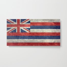 The State flag of Hawaii - Vintage version Metal Print