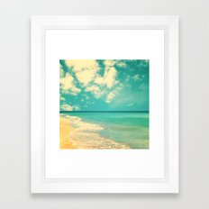 Retro beach and turquoise sky (square) Framed Art Print