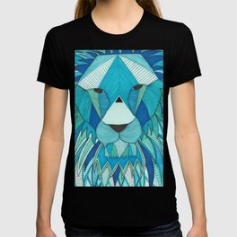 Blue and Green Geometric Lion Line Illustration T-shirt