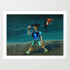 Walking with my Tucan. Art Print