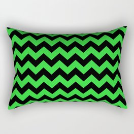 Large Black and Bright Monster Green Halloween Chevron Stripes Rectangular Pillow