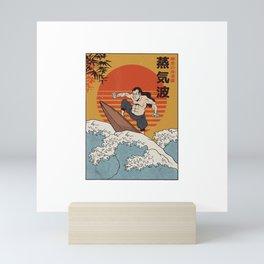 Surfer Samurai I Wave Warrior Surfing T-Shirt Mini Art Print