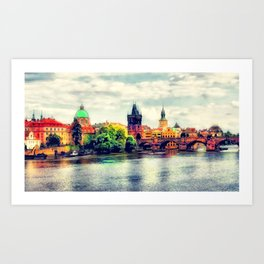 Prague panorama watercolor Art Print