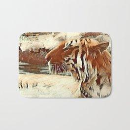 Warm colored Animal swimming tiger Bath Mat