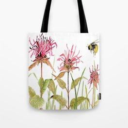 Flowers Bee Balm Pink Garden Wildflowers Nature Art Tote Bag
