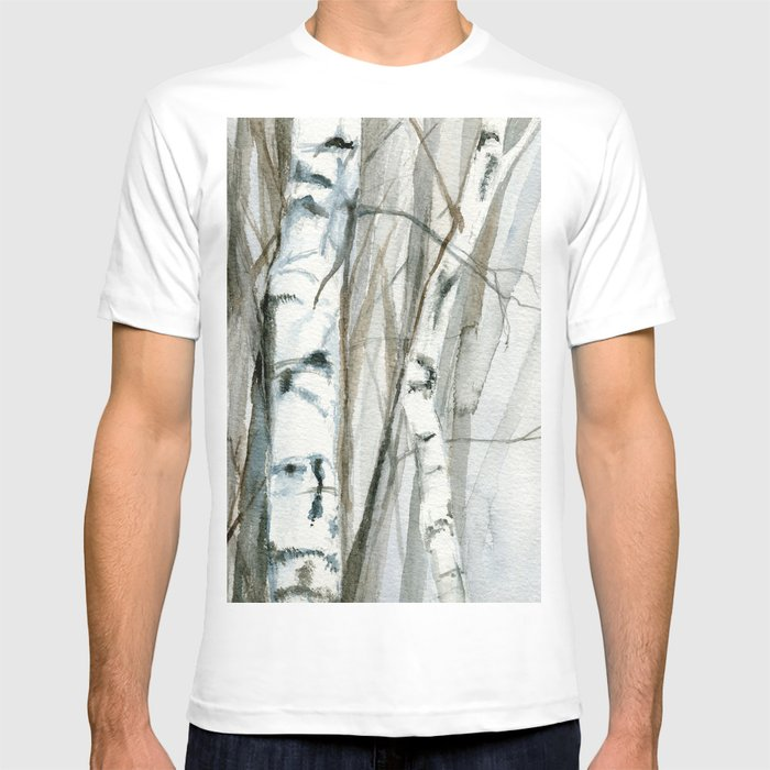 6caf76cb Winter Birch Trees Woodland Watercolor Original Art Print T-shirt by  betweentheweeds | Society6