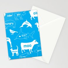 Animal Noises in Blue Stationery Cards