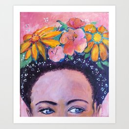 The Muse - a Frida inspired portrait by Anita Revel Art Print
