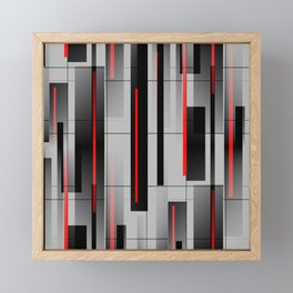 Off the Grid - Abstract - Gray, Black, Red Framed Mini Art Print