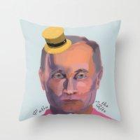 putin Throw Pillows featuring Putin on the Ritz by Kervin