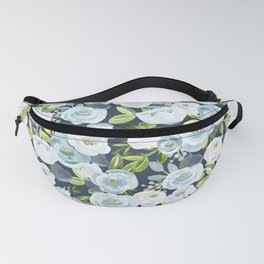 Lovely Slate Blue Floral Print, Hand-Painted Flowers, Roses, Bouquets, Blue Blossoms, Navy Fanny Pack
