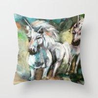 unicorns Throw Pillows featuring Unicorns by osile ignacio