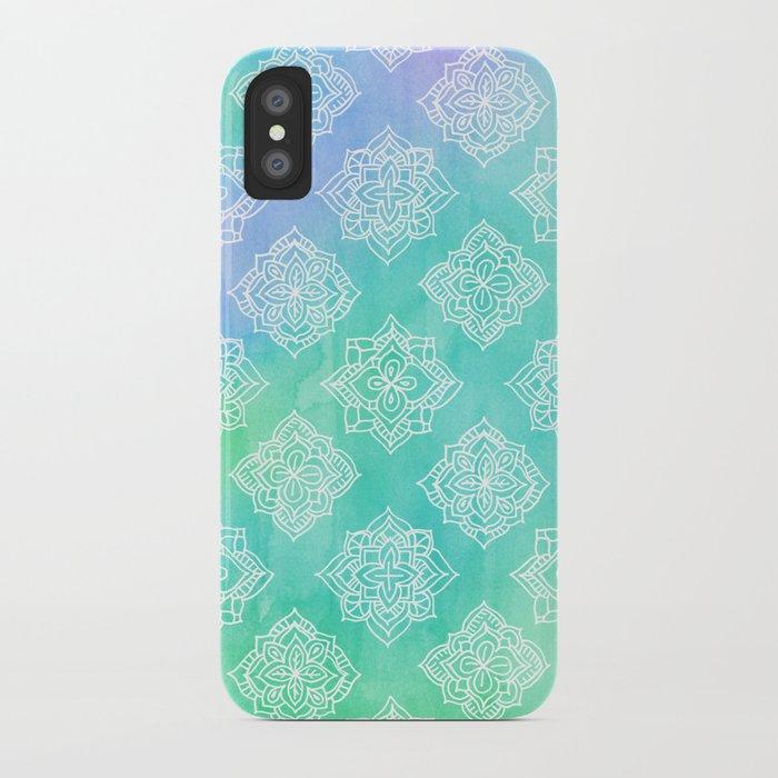 Soft Doodle Pattern in White, Purple, Mint & Aqua iPhone Case