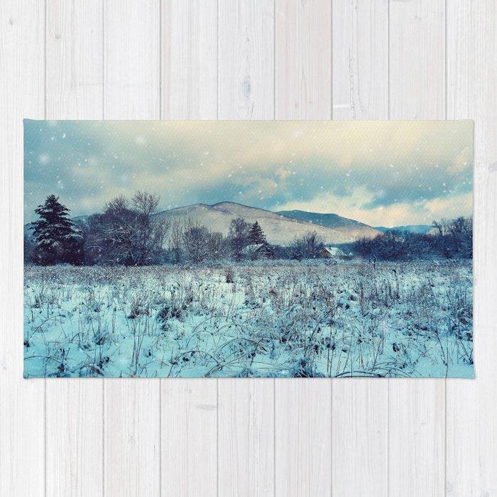 Snowy mountain landscape Rug