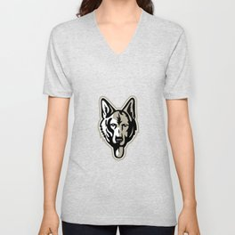 Alsatian Wolf Dog Head Mascot Unisex V-Neck