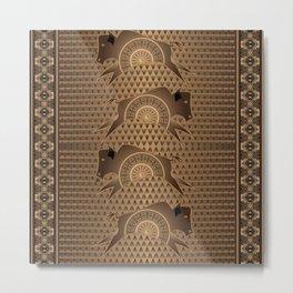 Buffalo Running (Brown) Metal Print