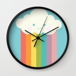 Proud rainbow cloud Wall Clock