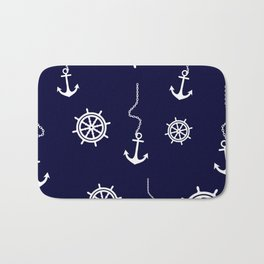 Nautical Navy Pattern with Anchors and Steering Wheels Bath Mat